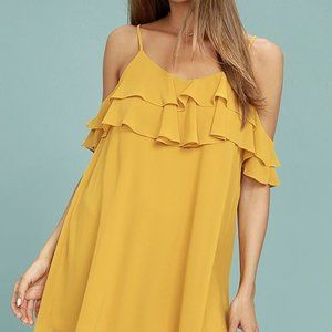LULUS Yellow Ruffle Cold Shoulder Mini Dress